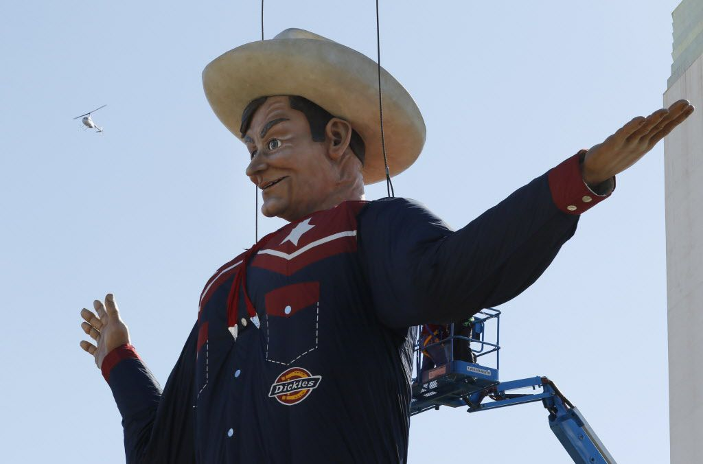 Big Tex is put into place for the 2015 State Fair of Texas