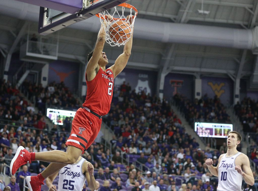 Texas Tech Red Raiders guard Zhaire Smith (2) dunks the ball in the second half of an NCAA basketball game between Texas Tech and TCU Schollmaier Arena in Fort Worth, Texas Saturday February 3, 2018. Texas Tech beat TCU 83-71. (Andy Jacobsohn/The Dallas Morning News)