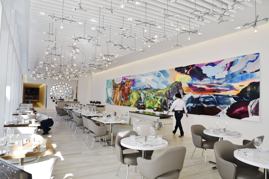 """Guests at Ellie's will get a good view of """"Spangled Ramparts,"""" a large piece of art by Kristin Baker."""