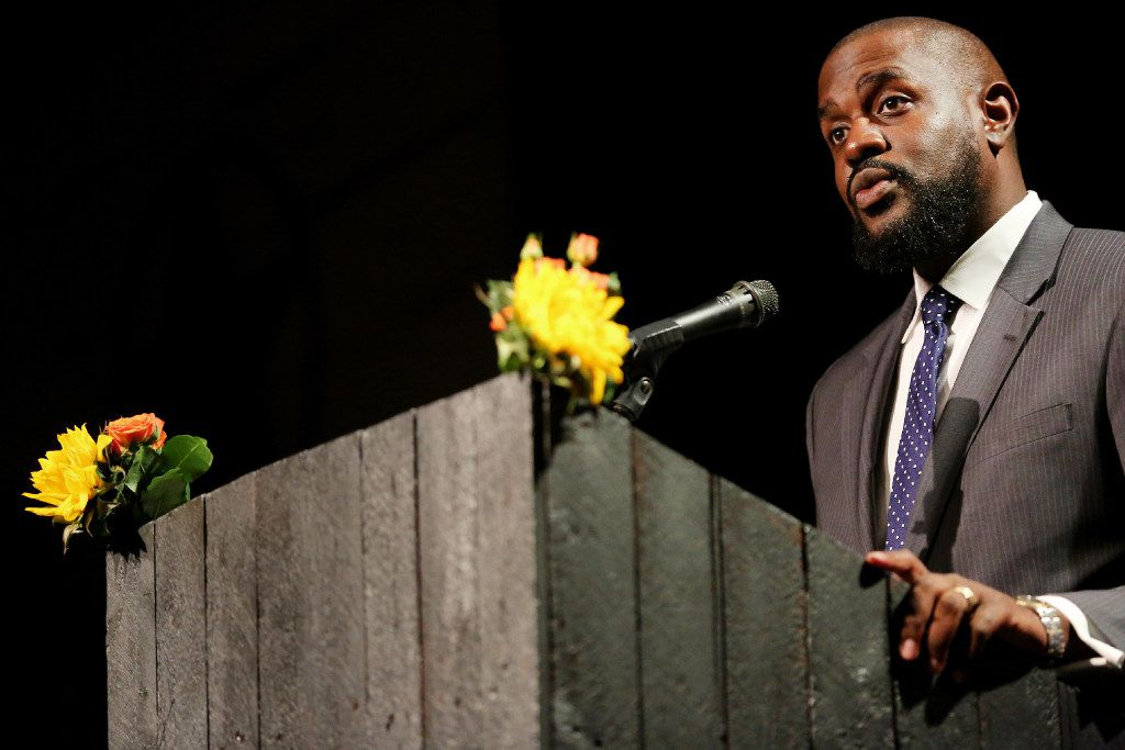 """The Rev. Dr. Michael W. Waters speaks during the 36th annual National Day of Prayer Luncheon at Eddie Deen's Ranch in Dallas on May 4, 2017. The luncheon was hosted by The Thanks-Giving Foundation and its Interfaith Council. The program was titled """"Prayer in the 21st Century: A Journey of the Timeless and Thought-Provoking."""