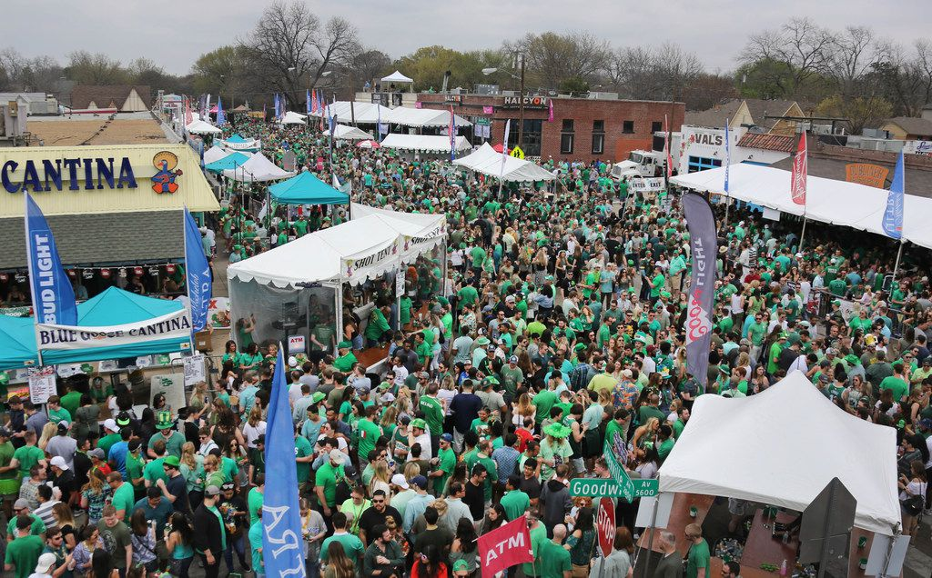 Greenville Avenue at Vanderbilt is jam-packed with revelers during the Dallas St. Patrick's Parade & Festival along Greenville Avenue in Dallas on Saturday.