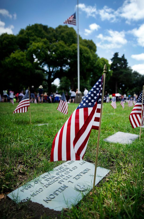 Small flags were placed at the graves of soldiers buried at Restland, including that of Horace Nelson, a private in Company B of the Army's 113th Machine Gun Battalion during World War I.