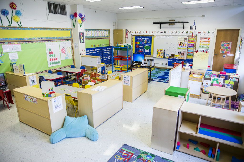 An overview of a Dallas ISD pre-kindergarten classroom at Gill Elementary School. The district is debating creating in-district charters with some nonprofit preschool providers that operate separately from a DISD campus.