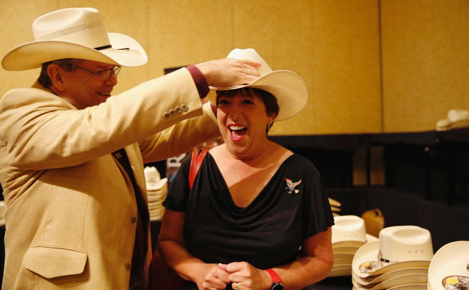 Delegate Melanie Grammar of Randolph is fitted for her cowboy hat.