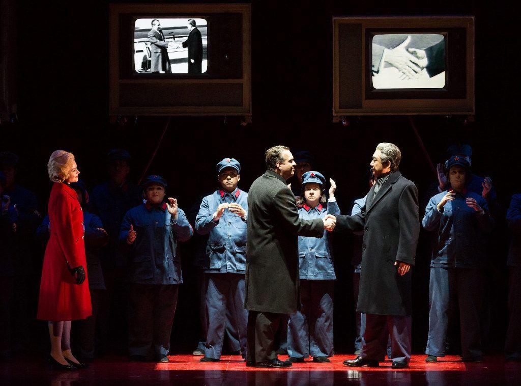 Andrianna Chuchma a  Pat Nixon; Scott Hendricks as Richard Nixon; and Chen-Ye Yuan as Zhou Enlai in the  Houston Grand Opera production of Nixon in China.