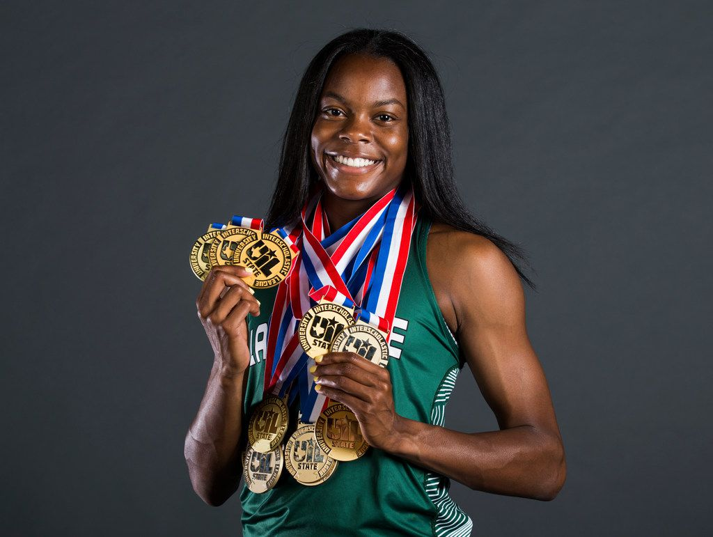 Mansfield Lake Ridge senior Jasmine Moore poses for a portrait at The Dallas Morning News after being named the 2019 All-Area Girls Track and Field Athlete of the Year. (Ashley Landis/The Dallas Morning News)