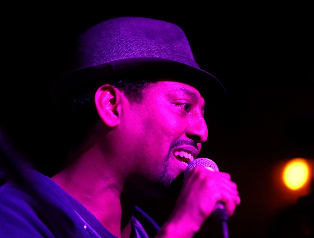 Moses Habtezghi performs onstage with the members of CoLab perform at Three Links Deep Ellum in Dallas, Tuesday, April 10, 2018. (Jae S. Lee/The Dallas Morning News)