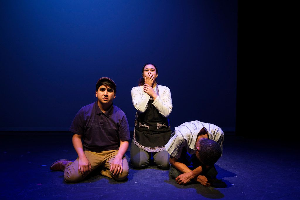 Edwin Aguilar (left) portrays Cesar Chavez and Jenna Davis-Jones and Elliot Sims portray farmworkers in a scene from Cara Mia Theatre Co.'s production of El Malcriado at the Latino Cultural Center on April 12, 2019, in Dallas.