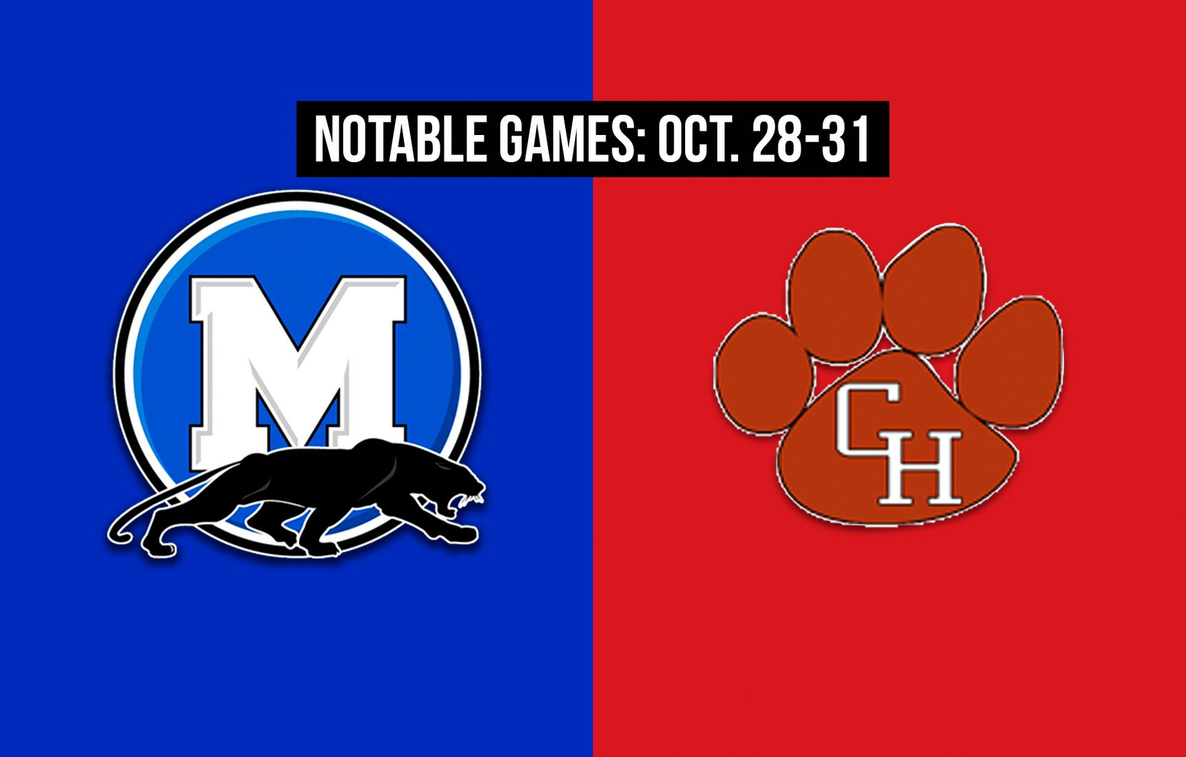 Notable games for the week of Oct. 28-31 of the 2020 season: Midlothian vs. Colleyville Heritage.