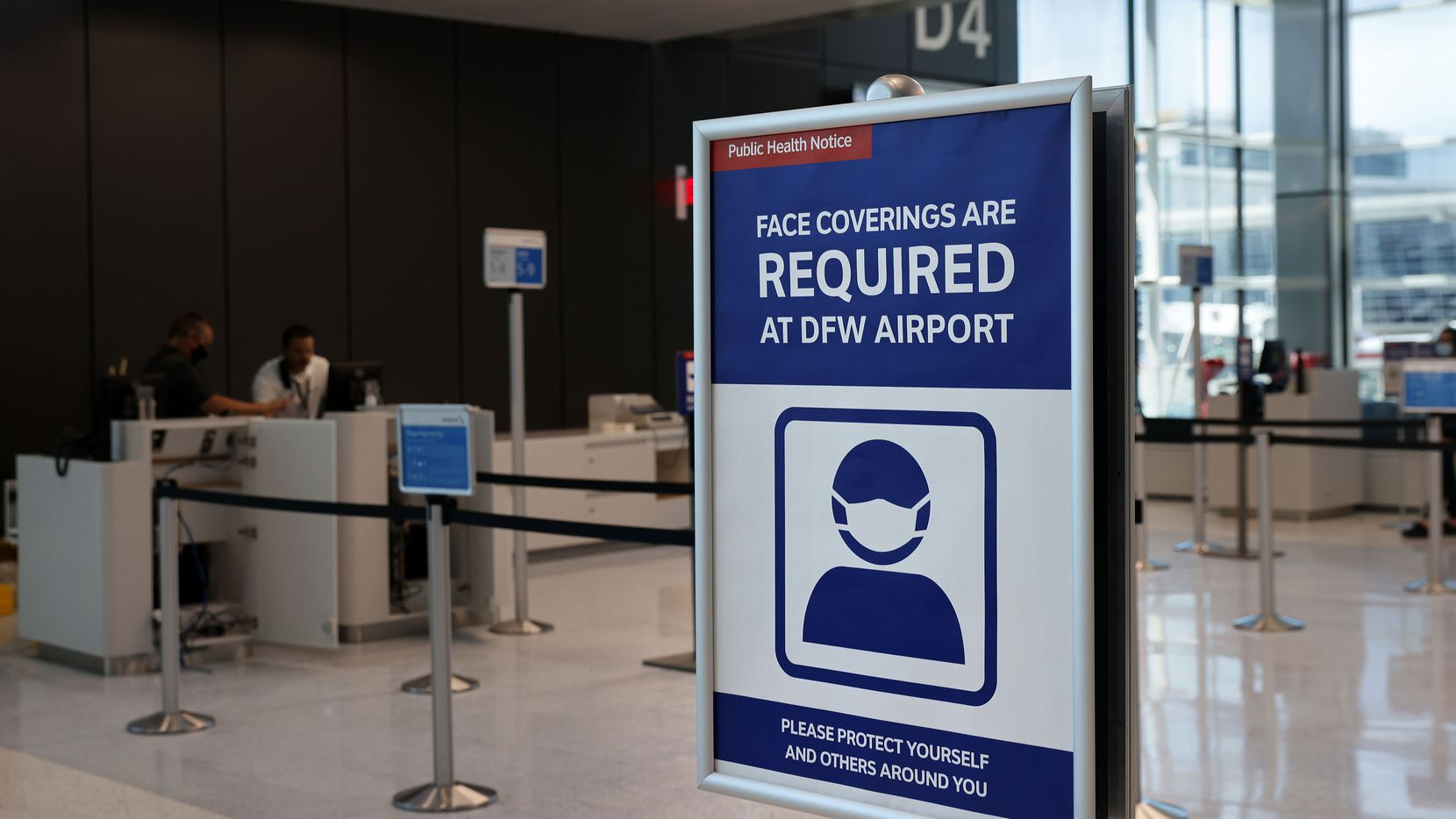 Passengers will be reminded to wear their masks as the Terminal D Extension finishes out construction at Dallas-Fort Worth International Airport, Thursday, May 6, 2021. (Tom Fox/The Dallas Morning News)