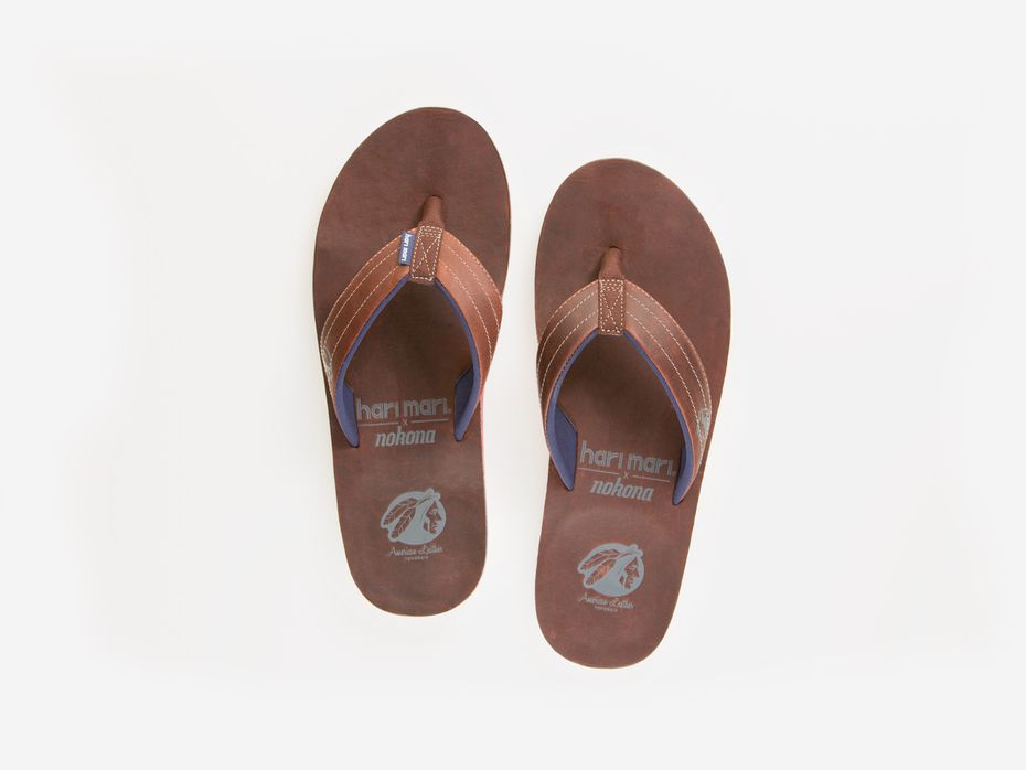 The Hari Mari and Nokona flip-flops will be sold online and in the ball glove maker's factory store