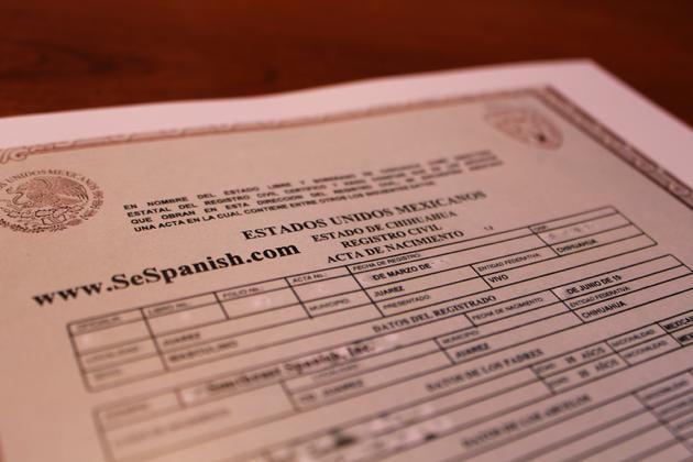 Un acta de nacimiento del estado de Chihuahua.(CORTESIA)
