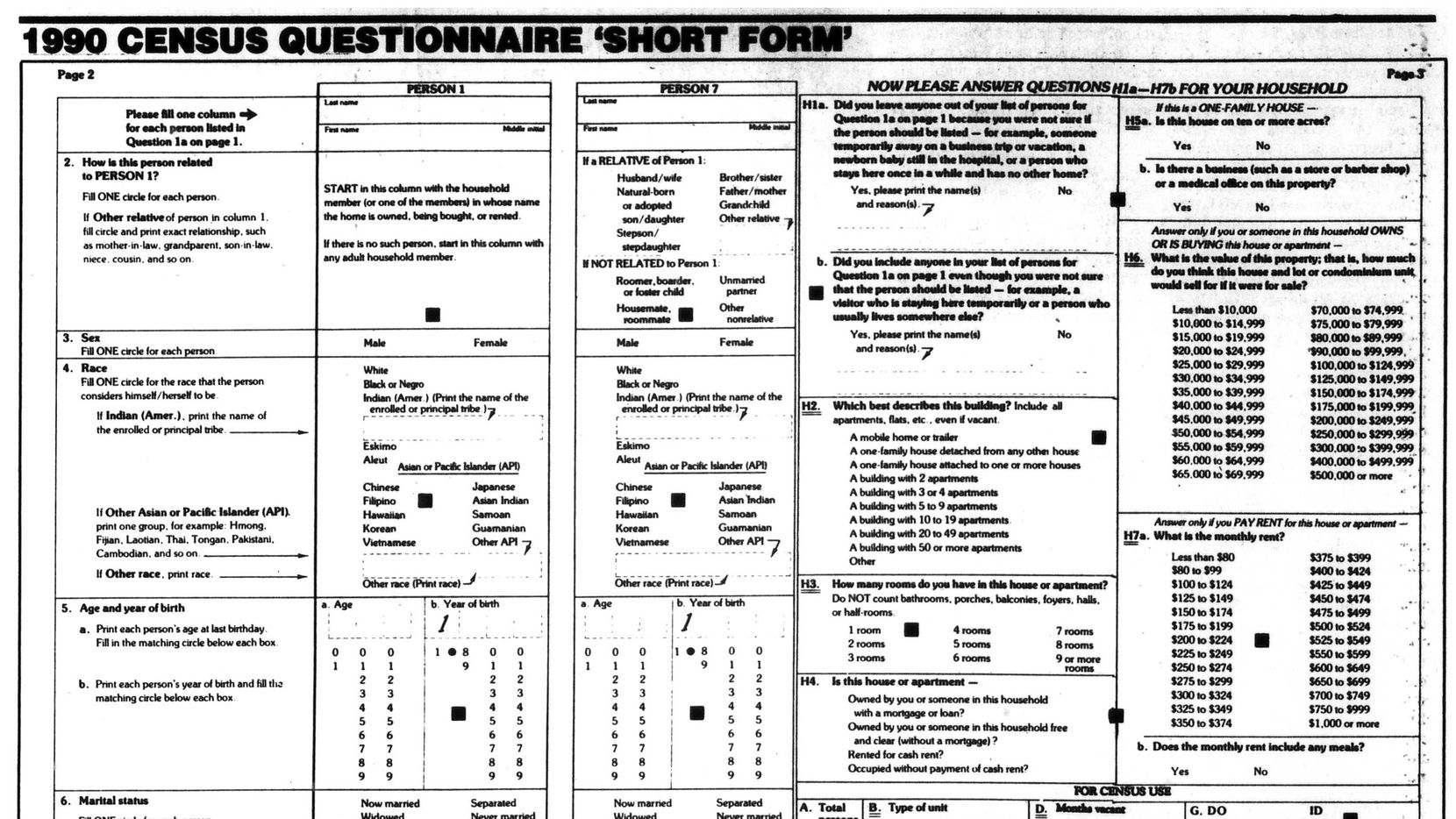 1990 census 'short form' as it appeared in the Feb. 12, 1990 edition of The Dallas Morning News.