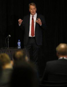 Parker spoke Wednesday at an aviation maintenance conference in Dallas. (Vernon Bryant/Staff Photographer)