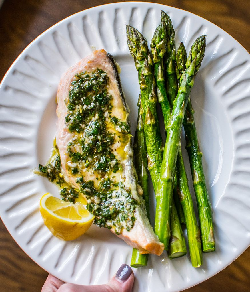 Sheet Pan Salmon and Asparagus with Chimichurri is an easy yet elegant weeknight meal.