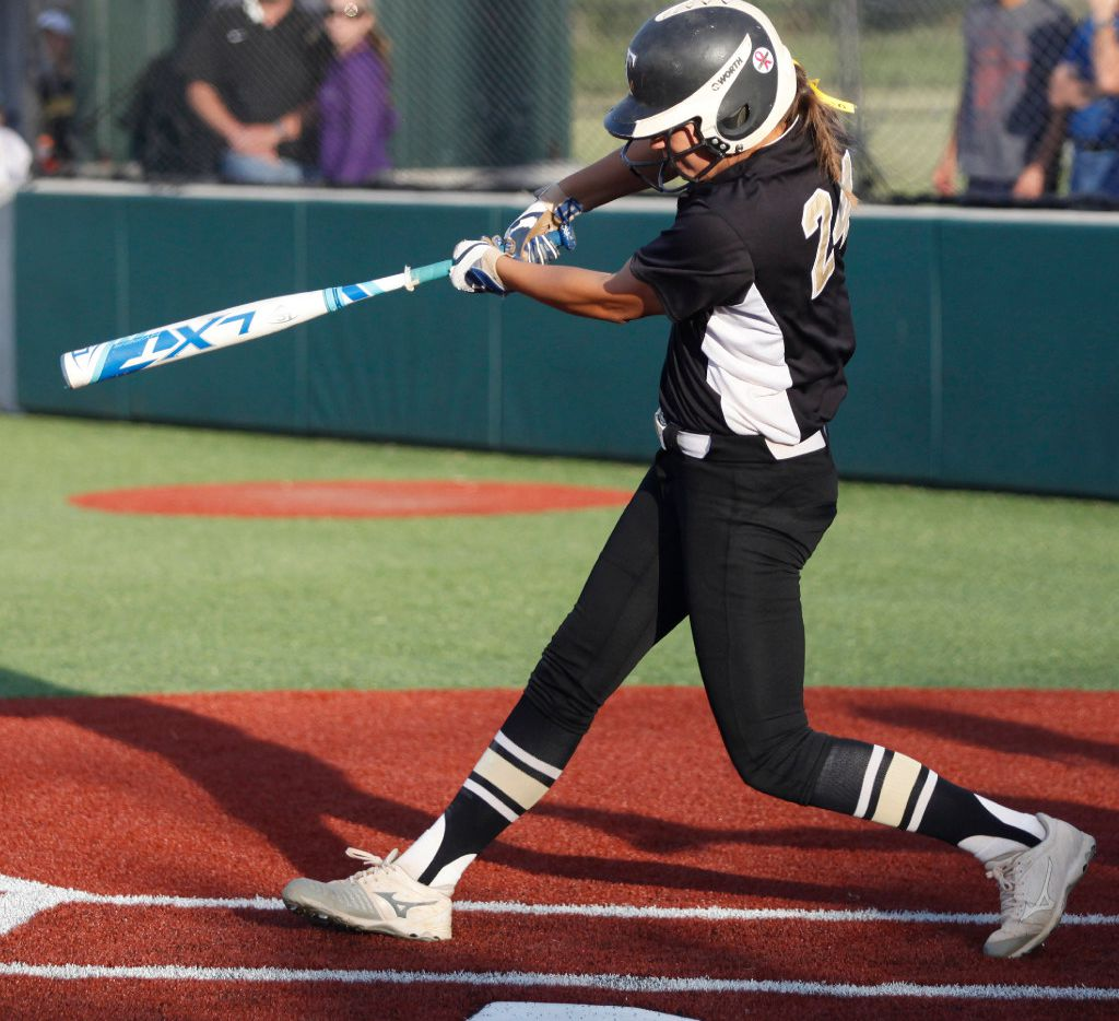 The Colony shortstop Jayda Coleman (24) hits a home run in her firs at bat, as the lead off hitter in the first inning as The Colony High School hosted Forney High School in game one of a best of three Class 5A Region II final at Prosper High School on Thursday, May 25, 2017. (Stewart F. House/Special Contributor)