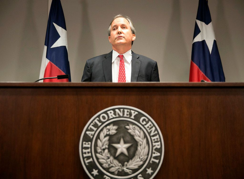 """In this May 25, 2016 file photo, Republican Texas Attorney General Ken Paxton announces the state's lawsuit to challenge President Barack Obama's transgender bathroom order during a news conference in Austin, Texas. Many GOP attorneys general have urged President Donald Trump's 2020 census team to add a citizenship question. """"We always are better off having a more accurate count of citizens versus non-citizens. I see no downside in this,"""" says Paxton, vice chairman of the Republican Attorneys General Association."""