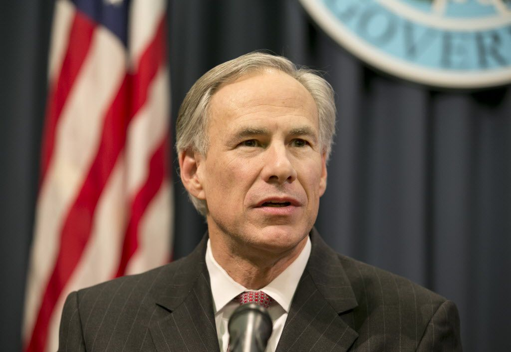 Texas Gov. Greg Abbott speaks at a news conference at the Capitol in Austin, Texas, on Wednesday, Feb. 18, 2015. (AP Photo/Austin American-Statesman, Jay Janner)