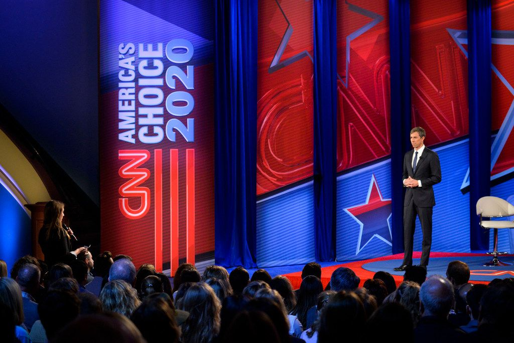 Democratic presidential candidate Beto O'Rourke takes a question during a live CNN Town Hall from Drake University in Des Moines, Iowa, on May 21, 2019.