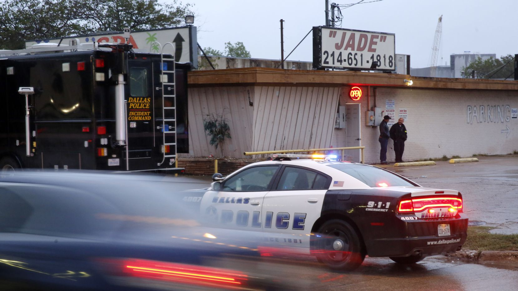What it looked like early on the morning of Oct. 30, when Dallas police raided Jade Spa — and, elsewhere, Dragon House in Southlake and other homes and apartments around North Texas.