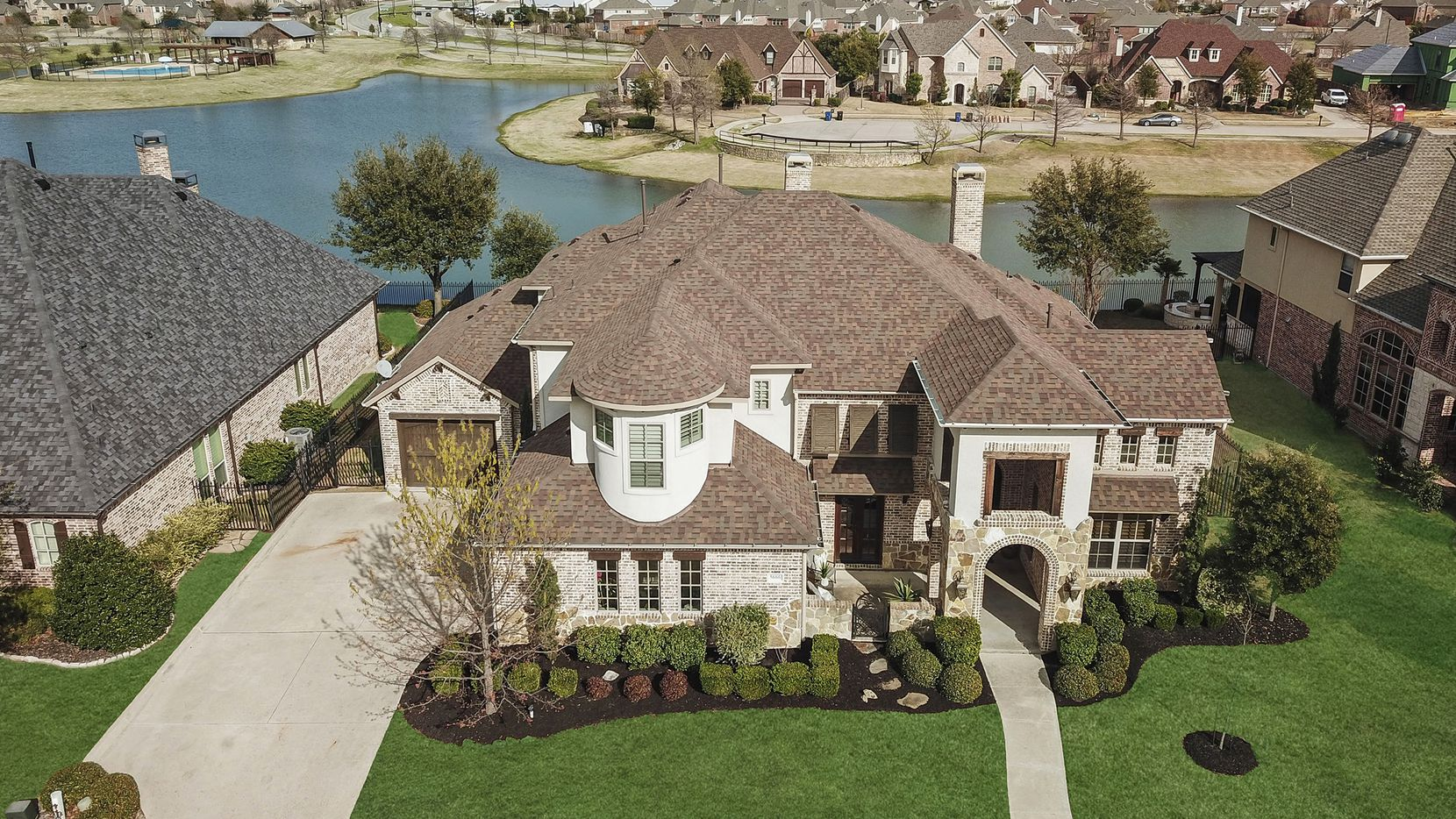 Listed for $850,000, the estate at 5666 Lakeshore Drive in Frisco provides upgrades and unobstructed lake views.