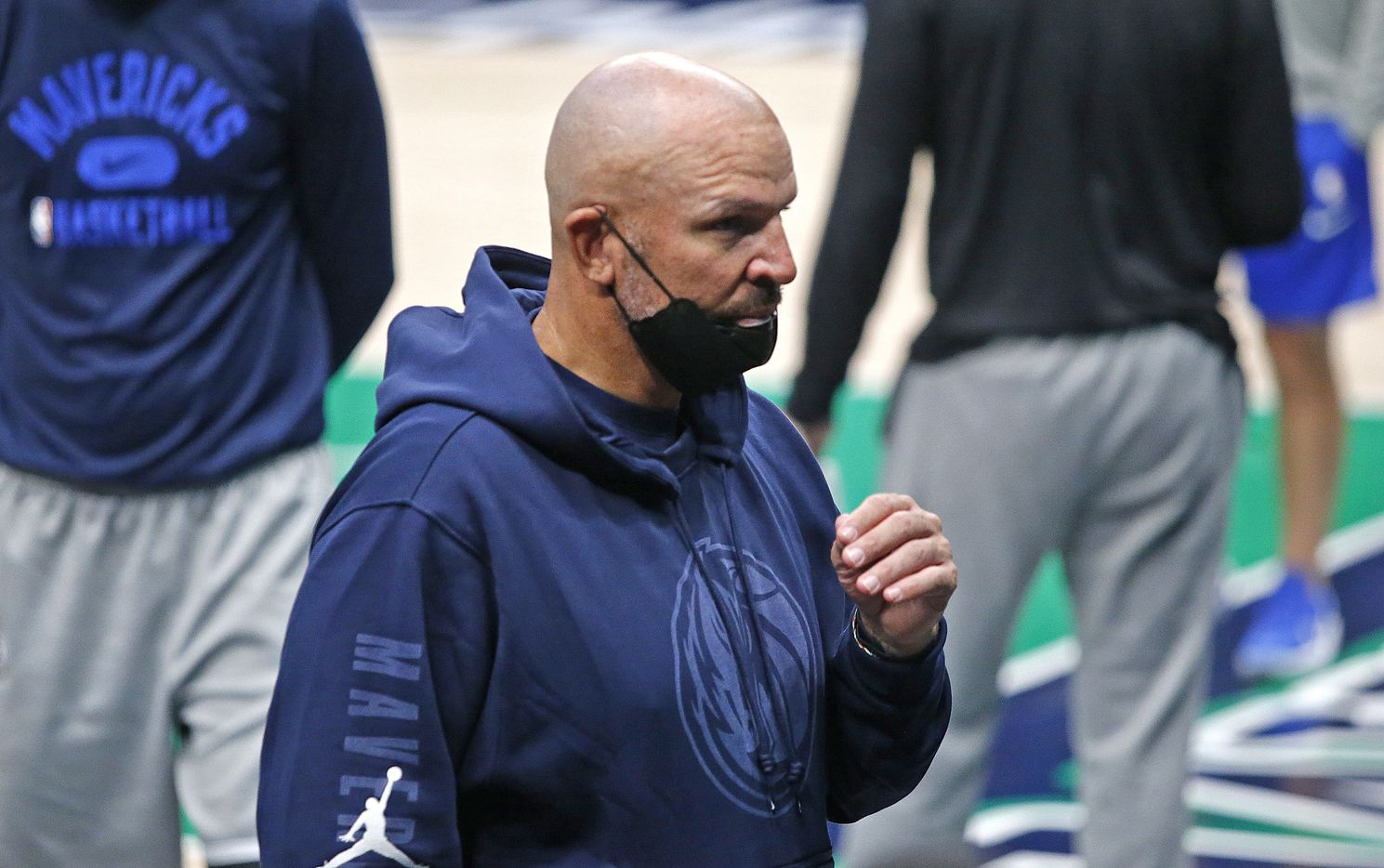 Dallas Mavericks head coach Jason Kidd heads for the locker room after the scrimmage as the Dallas Mavericks held their Mavs Fam Jam, a scrimmage free to the public at the American Airlines Center in Dallas on Sunday, October 3, 2021. (Stewart F. House/Special Contributor)