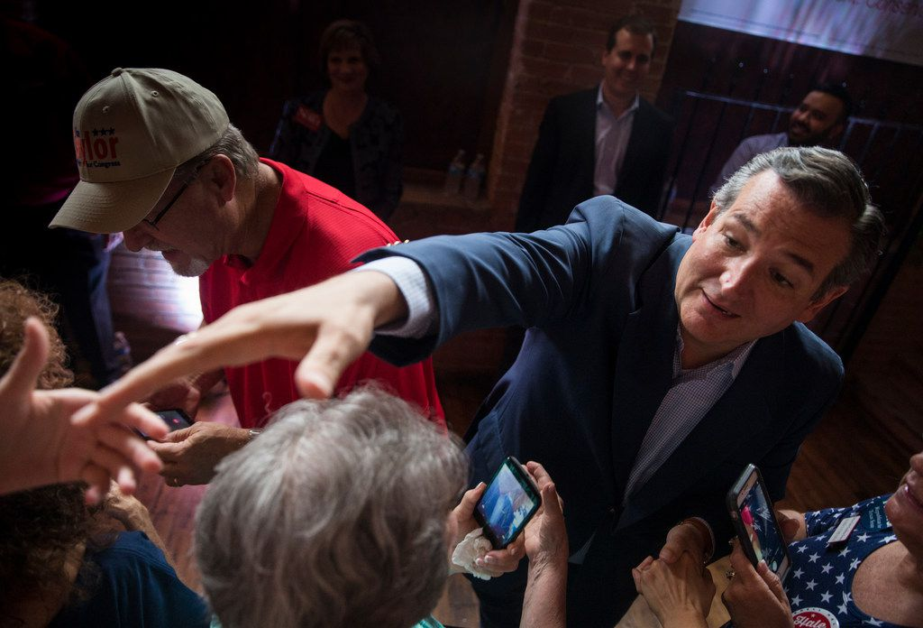 Republican Sen. Ted Cruz greets supporters before speaking at a Collin County Republican Party event Monday, September, 3, 2018 in McKinney, Texas.