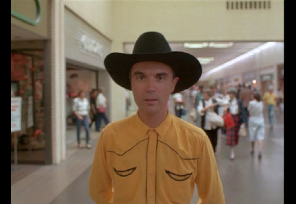 David Byrne in the starring role in True Stories (1986), which was partly shot at NorthPark Center, among other locations in North Texas.