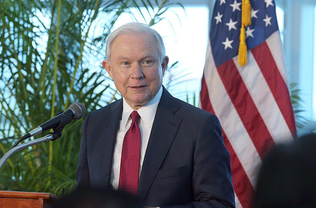Attorney General Jeff Sessions at Port of Miami Terminal E, on Aug. 16, 2017.