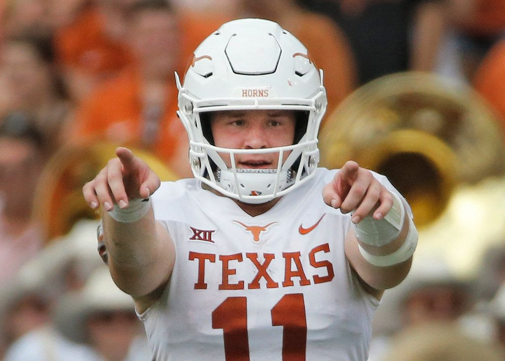 Texas Longhorns quarterback Sam Ehlinger (11) is pictured during the University of Texas Longhorns vs. the Oklahoma Sooners NCAA football game at the Cotton Bowl in Dallas on Saturday, October 6, 2018.