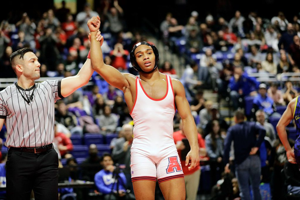 Elise Brown Ton of Allen during the UIL Texas State Wrestling Championships, Saturday, February 22nd, 2020, at the Berry Center in Cypress, Texas. Ton won the match. (Todd Spoth/Special Contributor)