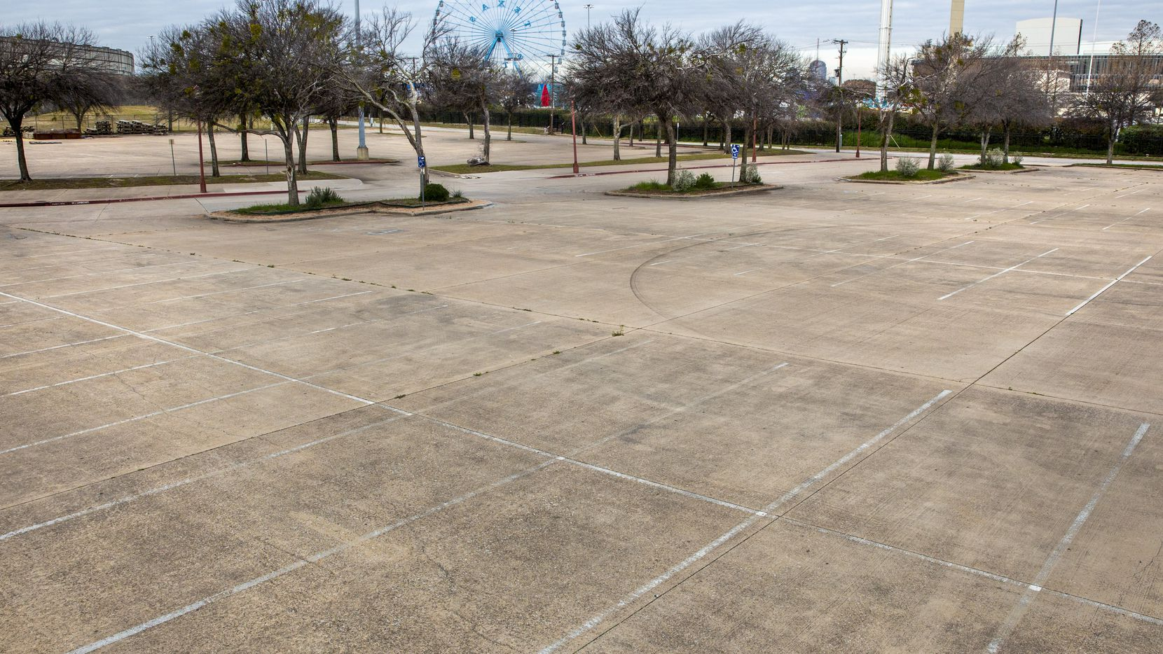 Parking lot 10 at Fair Park in Dallas. The lot, located along Fitzhugh Avenue and Exposition, is the proposed location for the Fair Park Neighborhood Park.
