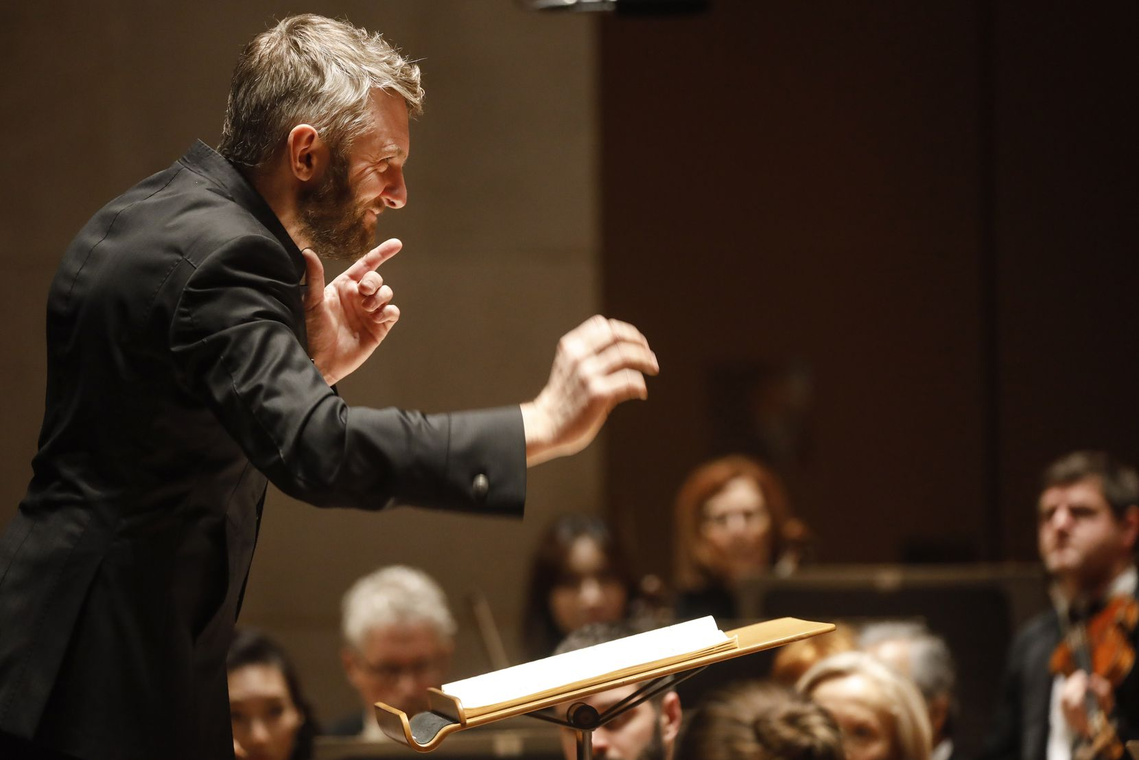 Guest conductor Kirill Karabits conducts the Dallas Symphony Orchestra during a concert on Thursday, Feb. 27, 2020 at the Morton H. Meyerson Symphony Center in Dallas. (Ryan Michalesko/The Dallas Morning News)