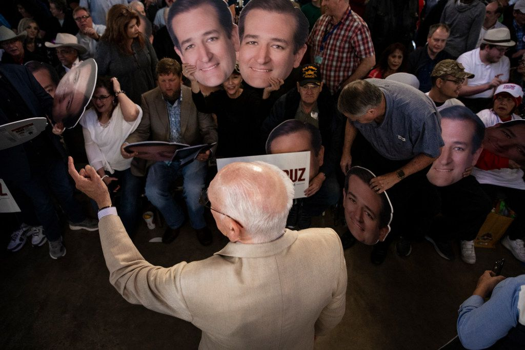 Rafael Cruz talks to supporters of his son, Senator Ted Cruz, before Senator Cruz's campaign rally at The Fort Worth Herd on Friday, October 19, 2018. (Shaban Athuman/The Dallas Morning News)