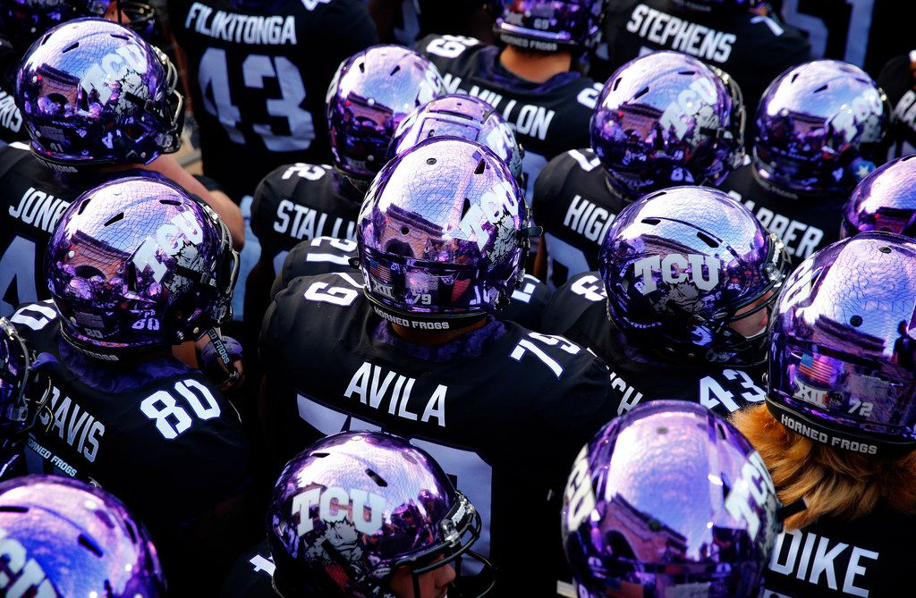 TCU players gather at Amon G. Carter Stadium in Fort Worth, Thursday, October 11, 2018. (Tom Fox/The Dallas Morning News)