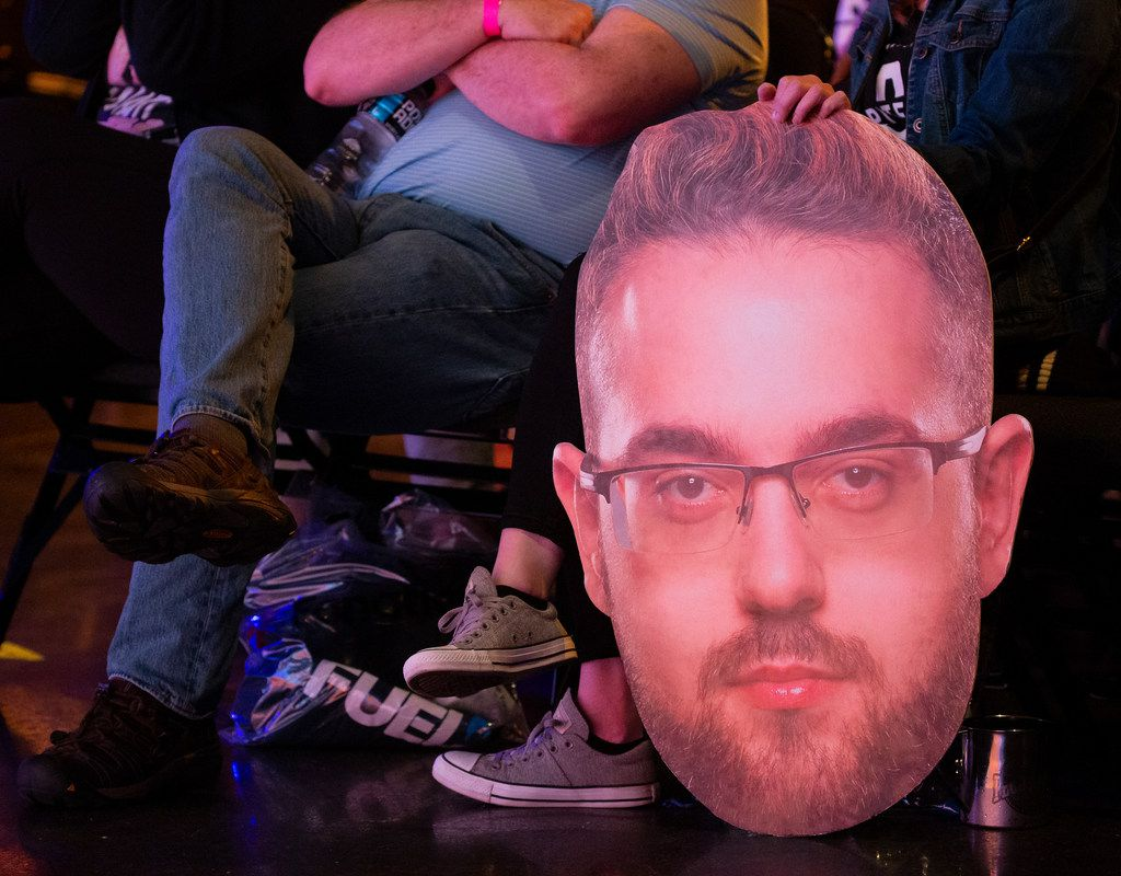 A fan holds a cutout of Jonathan 'HarryHook' Tejedor Rua of the Dallas Fuel during the season three opening weekend  match of the Overwatch League against the San Francisco Shock on Feb. 9, 2020 at the Esports Stadium in Arlington. The Fuel lost 3-1. (Juan Figueroa/ The Dallas Morning News)