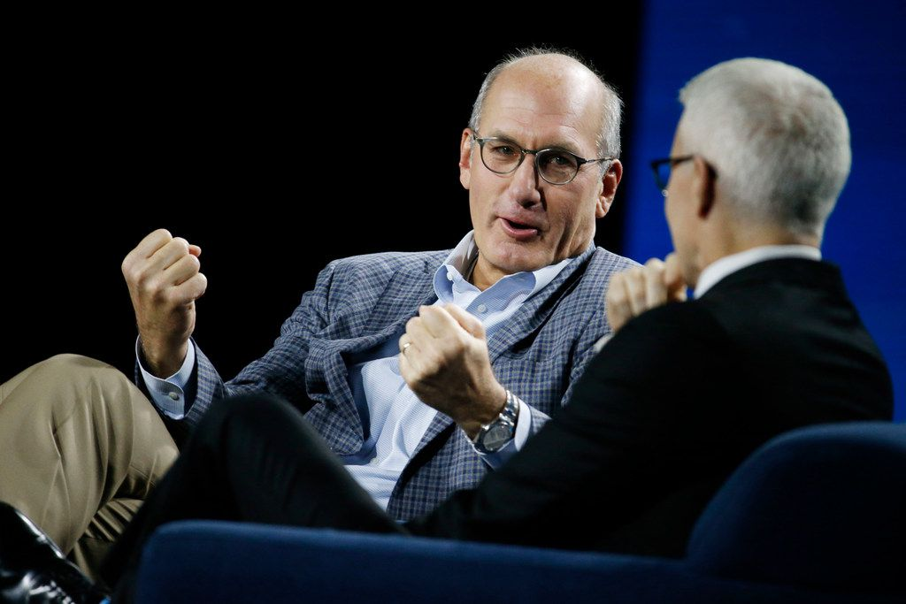 In this file photo, John Stankey, WarnerMedia CEO, was interviewed by Anderson Cooper during the AT&T Business Summit at Gaylord Texan Resort & Convention Center in 2018. He has been named AT&T's COO and president.