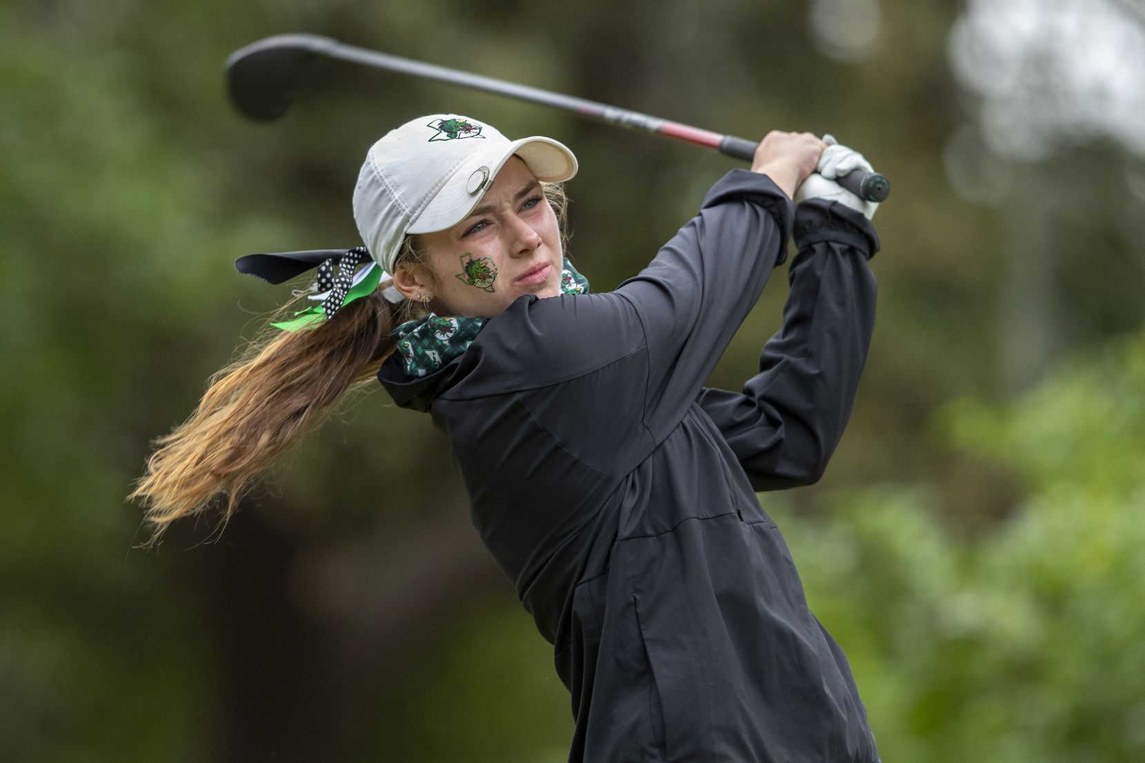 Southlake Carroll's MaKayla Tyrrell hits from the 1st tee box during the final day of the UIL Class 5A girls golf tournament in Georgetown, Tuesday, May 11, 2021. (Stephen Spillman/Special Contributor)