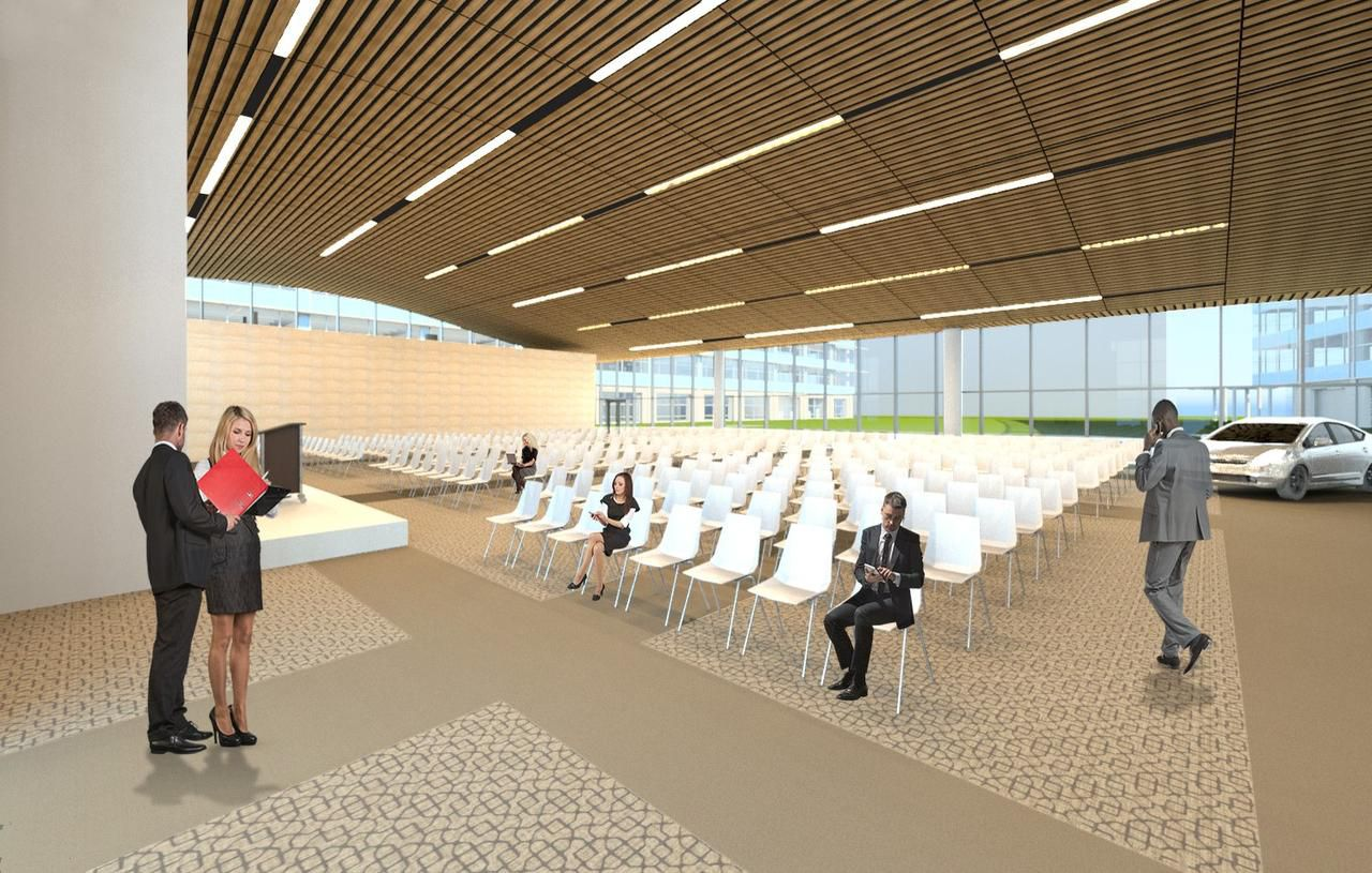 A small auditorium at Toyota's headquarters being built in west Plano.
