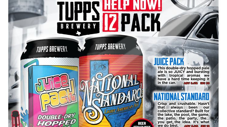 A mock-up of a 12-can variety pack from TUPPS Brewery. The McKinney beer-maker is planning to roll out the package for retail purchase and donate portions to charities helping those affected by the coronavirus pandemic.