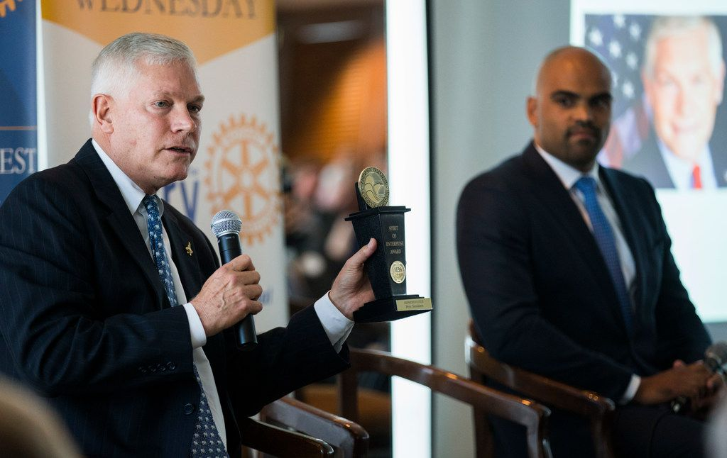 Rep. Pete Sessions and Colin Allred debated at a Rotary Club of Dallas lunch on Sept. 19, 2018..