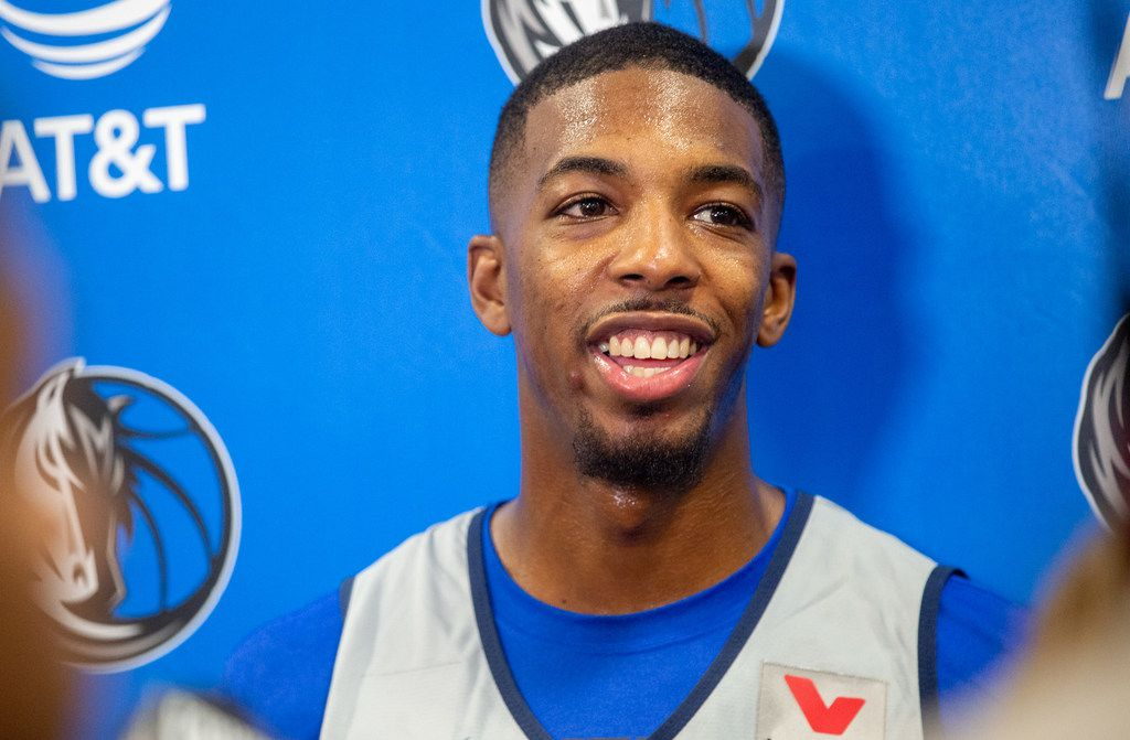 Delon Wright speaks with media at the Mavericks Training Center on Tuesday, Oct. 1, 2019, in Dallas. (Lynda M. Gonzalez/The Dallas Morning News)