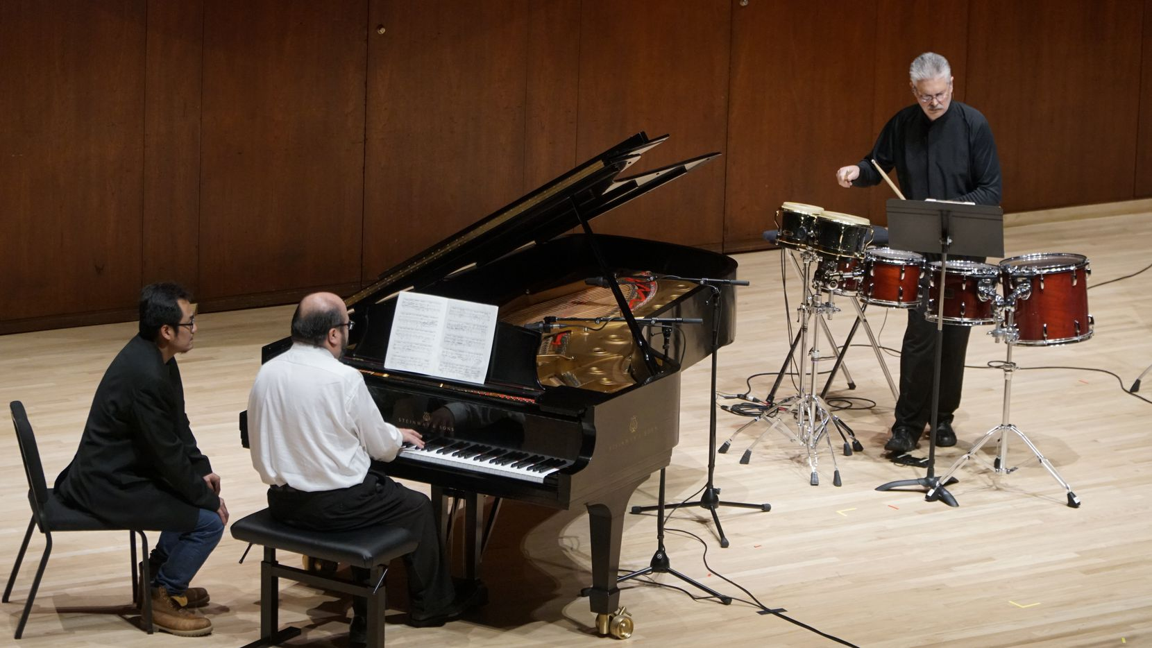 Pianist Gabriel Sanchez and percussionist Drew Lang performed in a Voices of Change concert at Caruth Auditorium at SMU on Sunday.