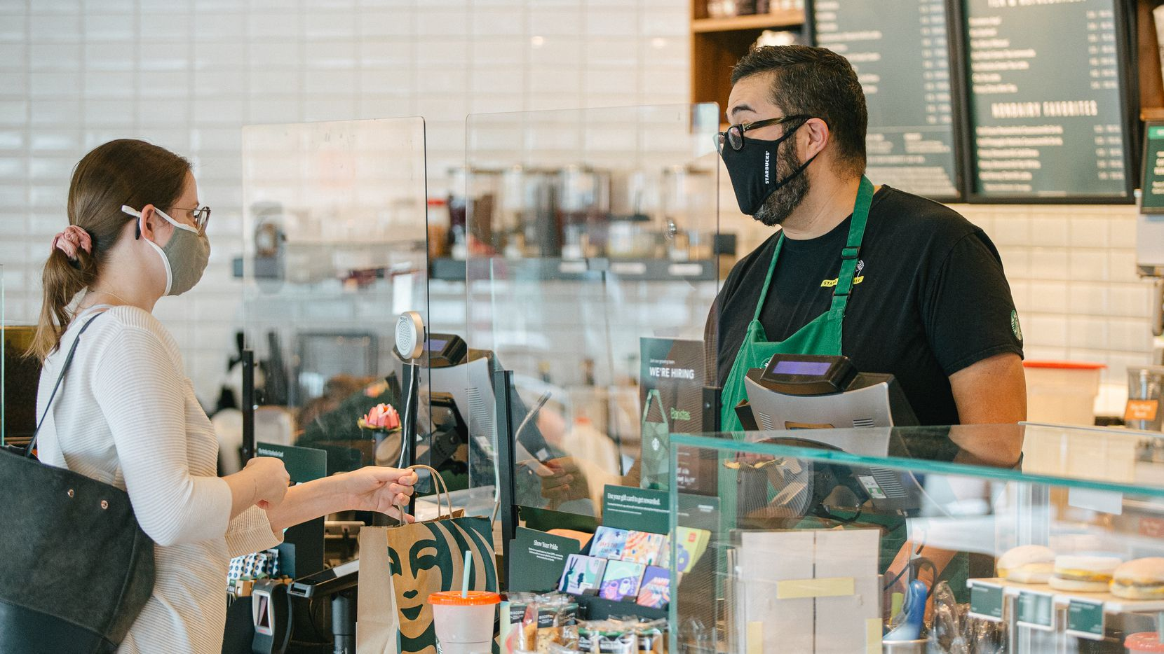 Frank Martinez at the Starbucks where he works.
