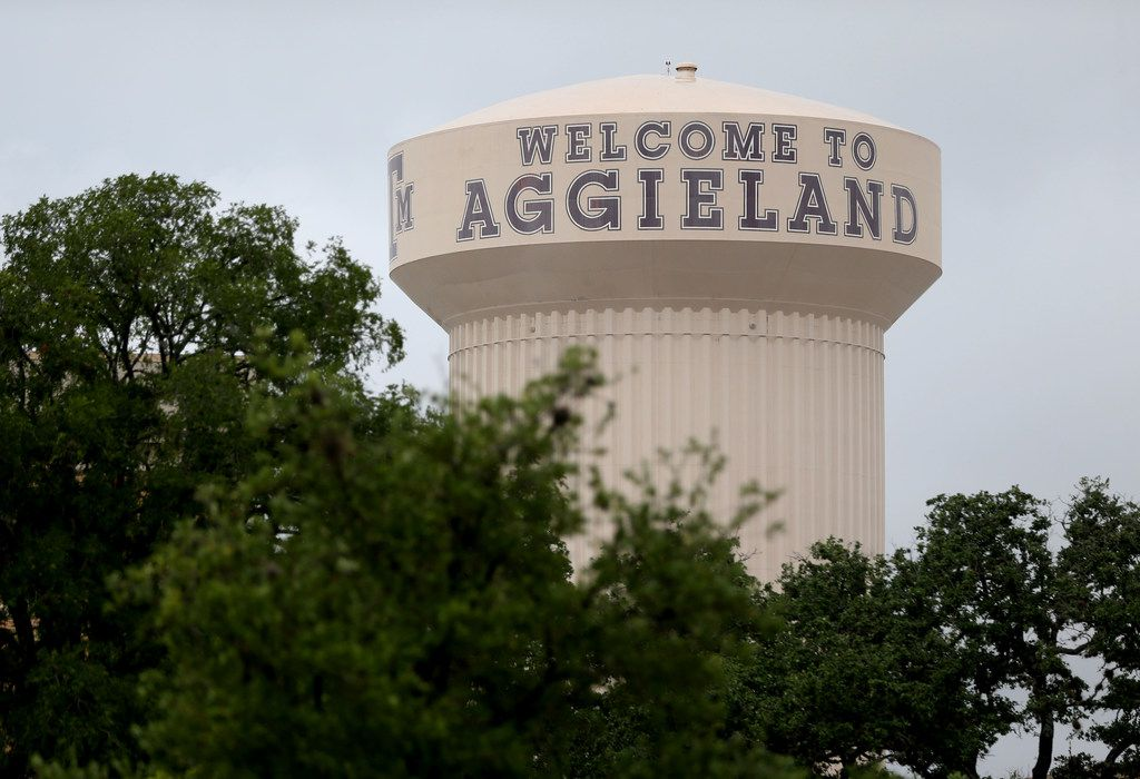 The water tower at Texas A&M campus in College Station, Texas on June 20, 2018.