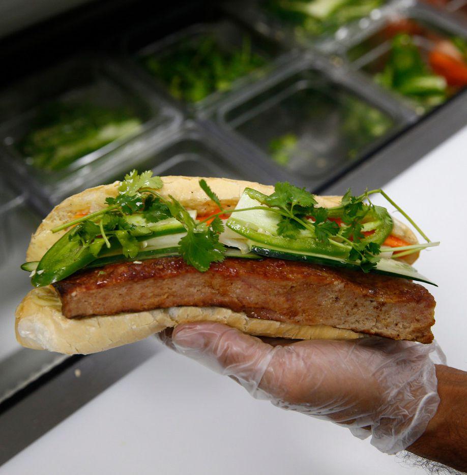 A Vietmanese pork banh mi sandwich at Sandwich Hag in Dallas on July 7, 2017.  (Nathan Hunsinger/The Dallas Morning News)