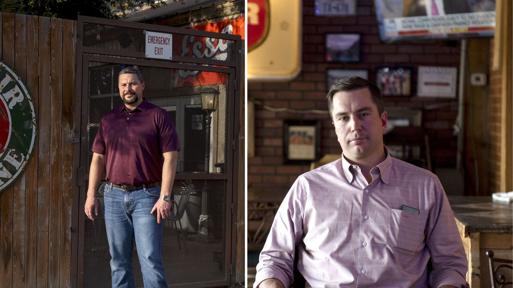 John Sellers (left) and Cody Campbell, co-chief executive officers and co-founders of Double Eagle Energy III Holdings LLC, photographed at an oil-themed bar in Midland.
