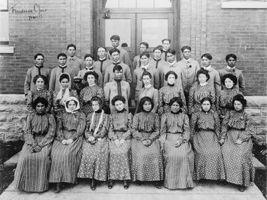 """Flandreau Indian School, South Dakota, choir,"" ca. 1909-1932. The photograph is on view as part of the exhibit ""Away From Home: Indian Boarding School Stories,"" on view at the Irving Archives and Museum."