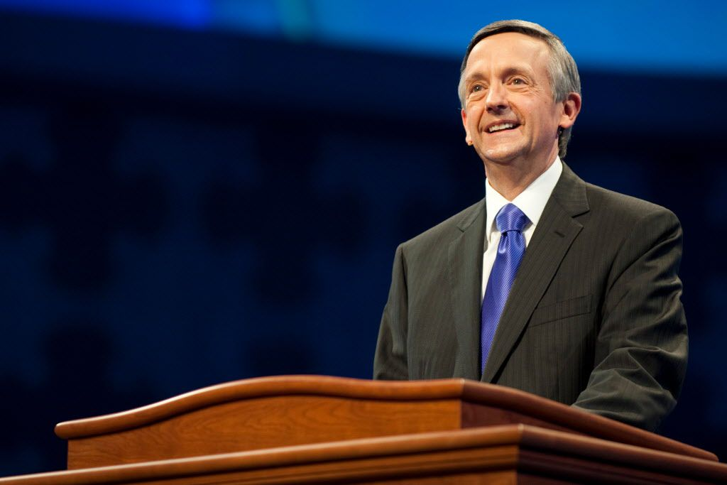 Pastor Robert Jeffress speaks to the congregation during the first service at the new $130 million campus for First Baptist Dallas on Easter Sunday, March 31, 2013.