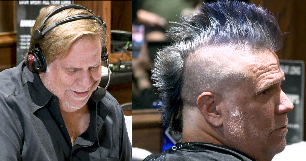 In this before and after picture, The Ticket's George Dunham is seen at Boardroom Salon for Men at Inwood Village in Dallas on Sept. 6, 2019. Dunham lost a bet saying Cowboys' coach Jason Garrett would be fired by the end of last season. The radio host must now sport a mohawk for the entire upcoming Cowboys season. (Tommy Noel/Staff Photographer)